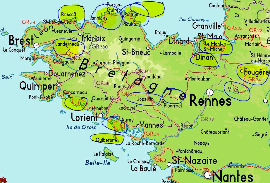Mapa Bretaña Y Normandia.Viaje Por La Bretana Francesa Espacio De Jose Antonio Uhalte